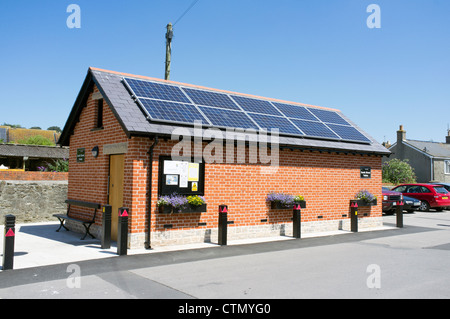 New public toilet building with solar panels on the roof in UK - Stock Photo