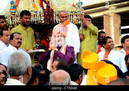 Chief Minister of Gujarat, Sri Narendra Modi, in Rath yatra procession of Ahmedabad, Gujarat, India - Stock Photo