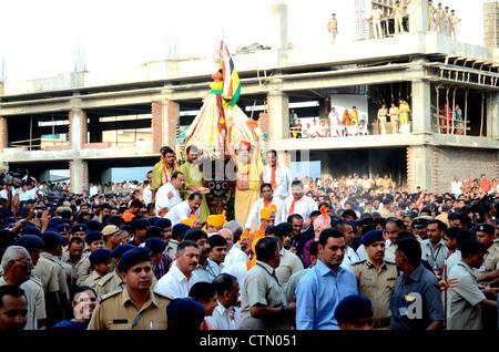 Rath yatra procession in Ahmedabad, Gujarat, India - Stock Photo