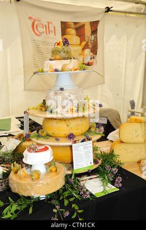 A display of Teifi  Farmhouse  Welsh  Artisan Cheese at a food fair in Pembrokeshire Wales Cymru UK GB - Stock Photo