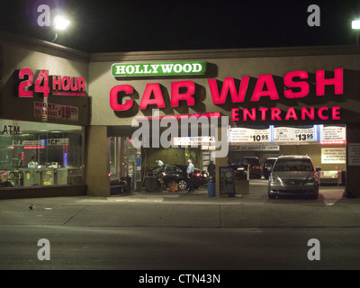 24 hour Hollywood Car Wash at Church and Coney Island Avenues in Brooklyn, NY. - Stock Photo