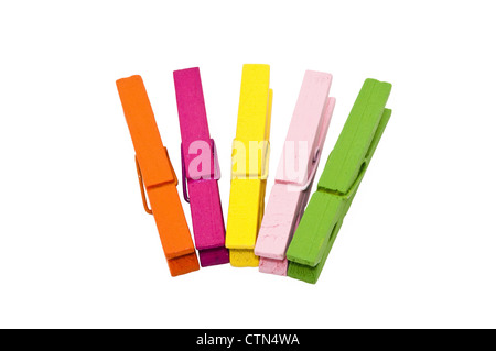 colorful wooden peg isolated on white background - Stock Photo