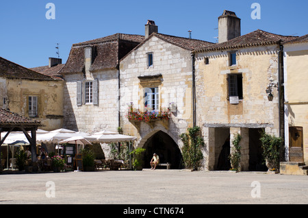 Bastide town of Monpazier in South West France - Stock Photo