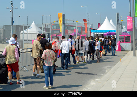 Queue at security check in entry point for media press & broadcasters at London 2012 Olympic Park EDITORIAL USE - Stock Photo