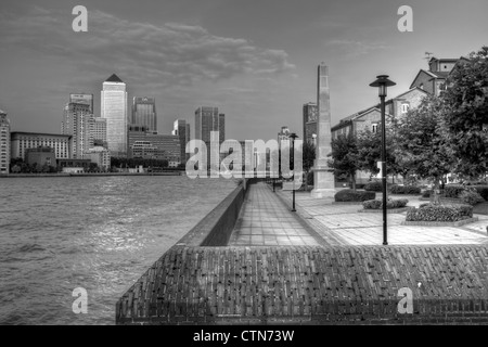 Canary Wharf Financial District, Viewed Across The River Thames, London, England - Stock Photo