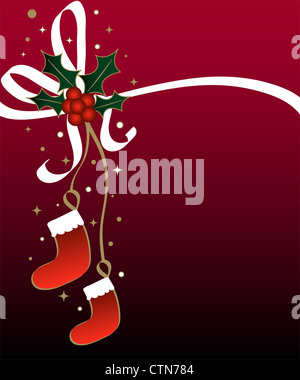 Christmas holly and stockings on red - Stock Photo