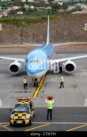 Thomson Jet at Funchal Airport on Apron - Stock Photo