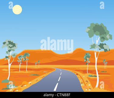 an illustration of a scorched Australian outback landscape with gum trees highway and ochre hills under a blue sky - Stock Photo