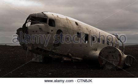 Crashed US Navy transport in Iceland - Stock Photo