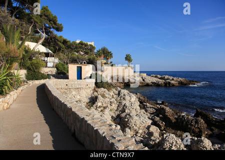 Coastal Path, Cap d Ail, Cote d Azur, Provence, French Riviera, Mediterranean, France, Europe - Stock Photo