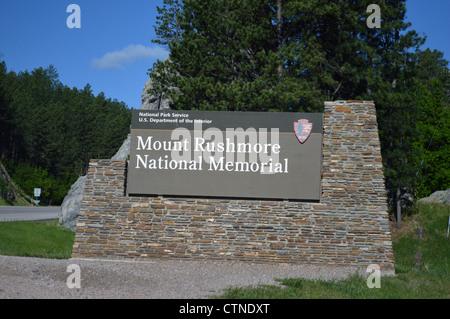 Mount Rushmore National Memorial sign near Rapid City in South Dakota - Stock Photo