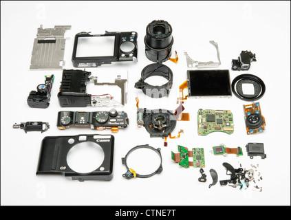 Canon digital camera G9 parts - Stock Photo