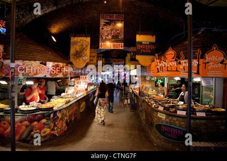 Food Stalls at Stables Market; Camden Lock; Camden; London; England; UK - Stock Photo