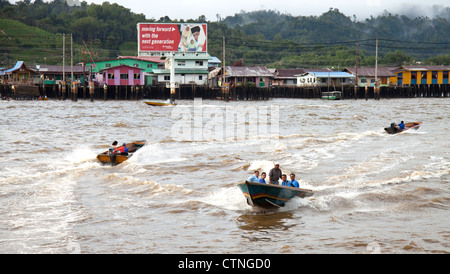 Water taxis in Kampong Ayer Bandar Seri Begawan Brunei. - Stock Photo