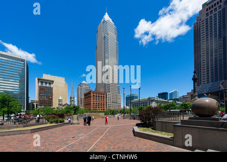 Public Square in the center of downtown Cleveland, Ohio, USA - Stock Photo