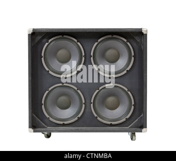 Guitar amplifier speaker box isolated with clipping path. - Stock Photo