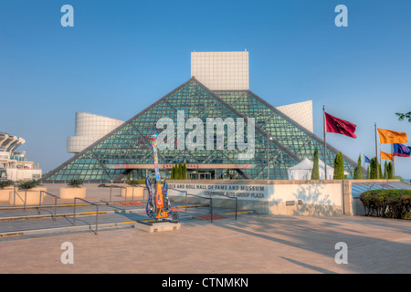 The Rock and Roll Hall of Fame and a GuitarMania guitar in Cleveland, Ohio. - Stock Photo