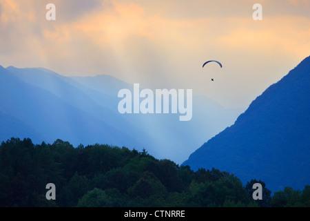 Paragliding in Slovenia, Soca Valley - Stock Photo