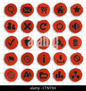 Infographics Photograph - Set of Web Icons Hand made on Red Paper - Stock Photo