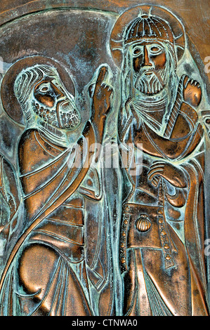 Spain, St. James Way: Bronze relief at Monastery San Juan de Ortega - Stock Photo