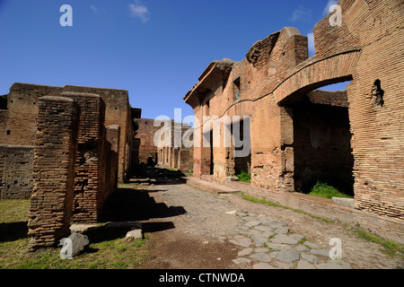 italy, rome, ostia antica, street of the house of diana - Stock Photo