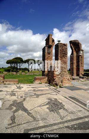 italy, rome, ostia antica, terme di porta marina, marine thermae mosaics, roman bath - Stock Photo