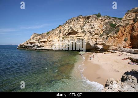 Carvoeiro Beach in Algarve - Portugal - Stock Photo