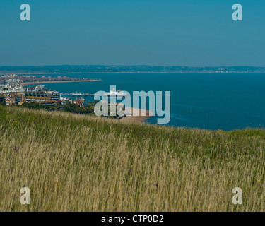 Eastbourne viewed from The South Downs National Park,  East Sussex, England, UK - Stock Photo
