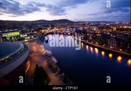 Dusk view over Belfast, Northern Ireland - Stock Photo