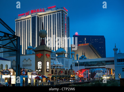 Casino and shops on boardwalk, Atlantic City, New Jersey, USA - Stock Photo