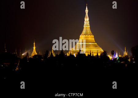 The Shwedagon Paya located in (Rangoon)Yangon, (Burma) Myanmar. - Stock Photo