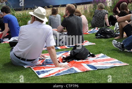 Atmosphere at the Olympic Park in Stratford, East London on the first day of the London 2012 Olympics - Stock Photo