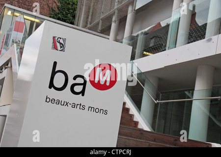 Entrance to Beaux-Arts Mons or BAM (Fine Arts Mons) in Mons, Wallonia, Southern Belgium. - Stock Photo