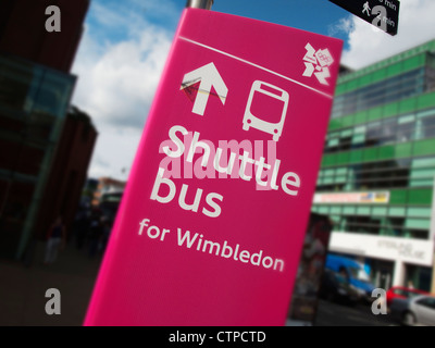 London Olympic Games 2012 temporary shuttle bus sign to Wimbledon tennis - Stock Photo