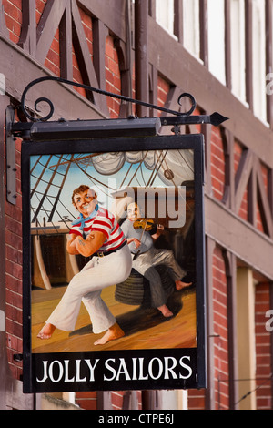 Musical Jolly Sailors, Pub sign in Whitby, a coastal town in North Yorkshire, UK - Stock Photo