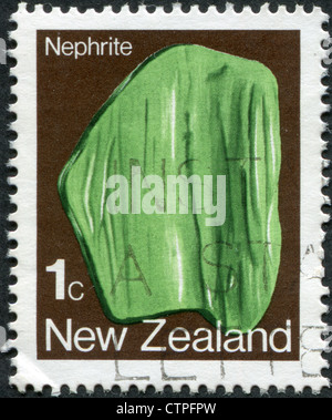 NEW ZEALAND - CIRCA 1982: Postage stamps printed in New Zealand, shows Nephrite, circa 1982 - Stock Photo