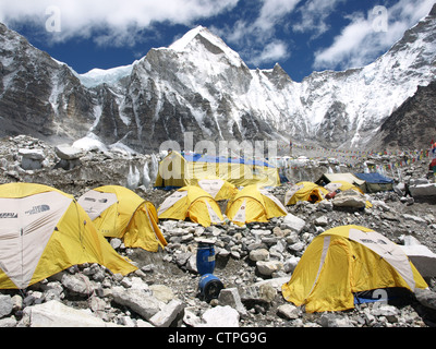 Tents in Everest Base Camp in Himalaya - Stock Photo