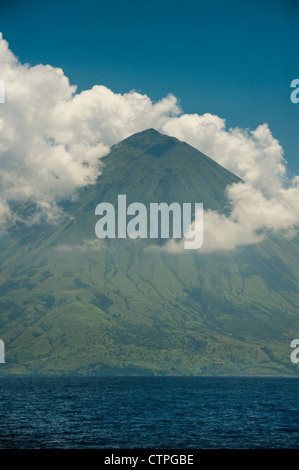 Sangeang Api (Gunung Api or Gunung Sangeang) is an active complex volcano on the island of Sangeang in Indonesia. - Stock Photo