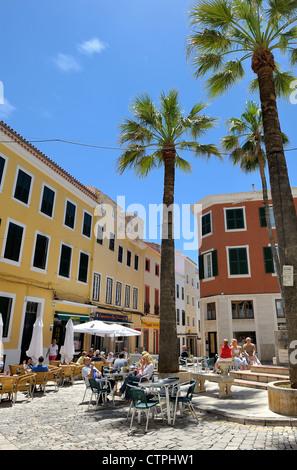Street cafe and restaurants mahon menorca spain - Stock Photo