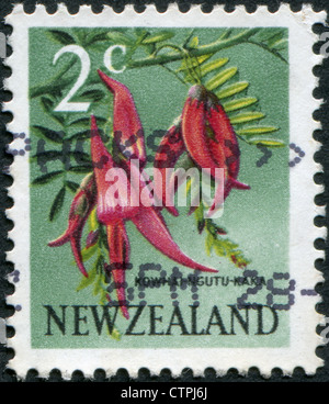 NEW ZEALAND - CIRCA 1967: Postage stamps printed in New Zealand, shows a flower Kaka Beak (Clianthus puniceus), - Stock Photo