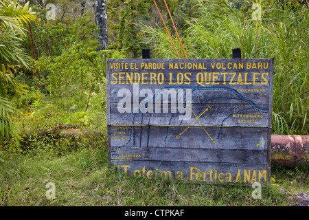 Wooden map of Sendero Los Quetzales trail near Volcan Baru National Park outside of Boquete, Chiriqui Province, - Stock Photo