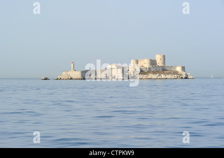 View of the Chateau d'If, near Marseille, France. It's a former fortress and prison made famous by 'The Count of - Stock Photo