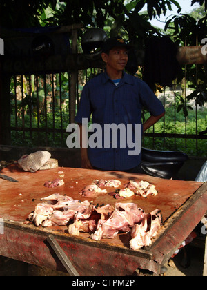 stall holder with raw chickens covered in flies on sale at an open air street market in jakarta indonesia - Stock Photo