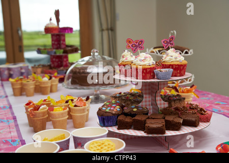 decorated cup cakes and home made buns on a stand with food and drink laid out on a table for a young girls birthday - Stock Photo