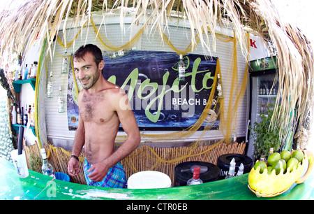 Beach Bar Mojito Beach Rhodes Greek Islands Greece - Stock Photo