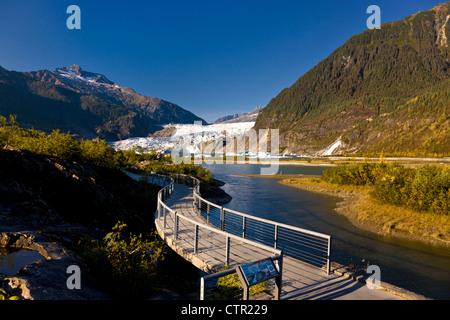 Interpretive walkway at Mendenhall Glacier Visitor Center, Juneau, Southeast Alaska, Autumn - Stock Photo