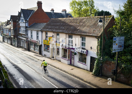 Early morning High Street Lyndhurst England UK - Stock Photo