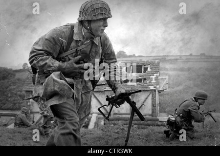 B/W image - German Soldiers in battle during the last months of WW2 - Stock Photo