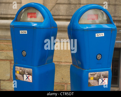 time expired on parking meters - Stock Photo