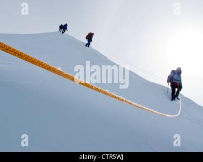 Group mountaineers descending summit ridge along King Trench route on Mt Logan Kluane National Park Saint Elias - Stock Photo